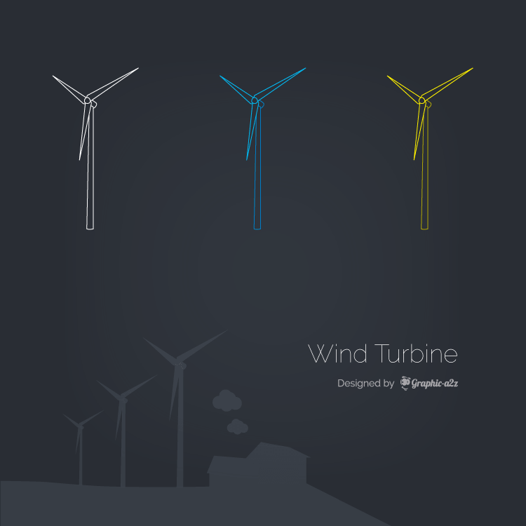 Wind Turbine Vector icon design with Lineal color
