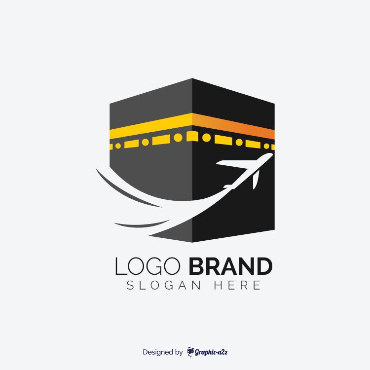 Hajj travel agency vector logo design with kaaba