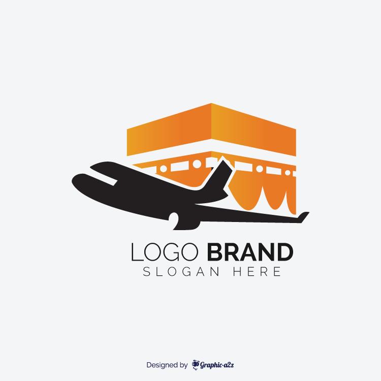 Hajj travel agency vector logo design and kaaba