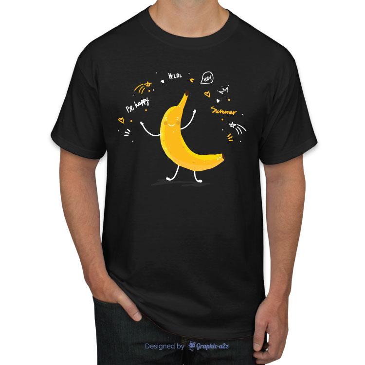 Banana fruit cute cartoon doodle sketch t-shirt on Graphic a2z