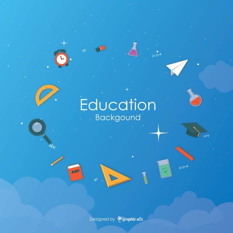 Education elements background flat style