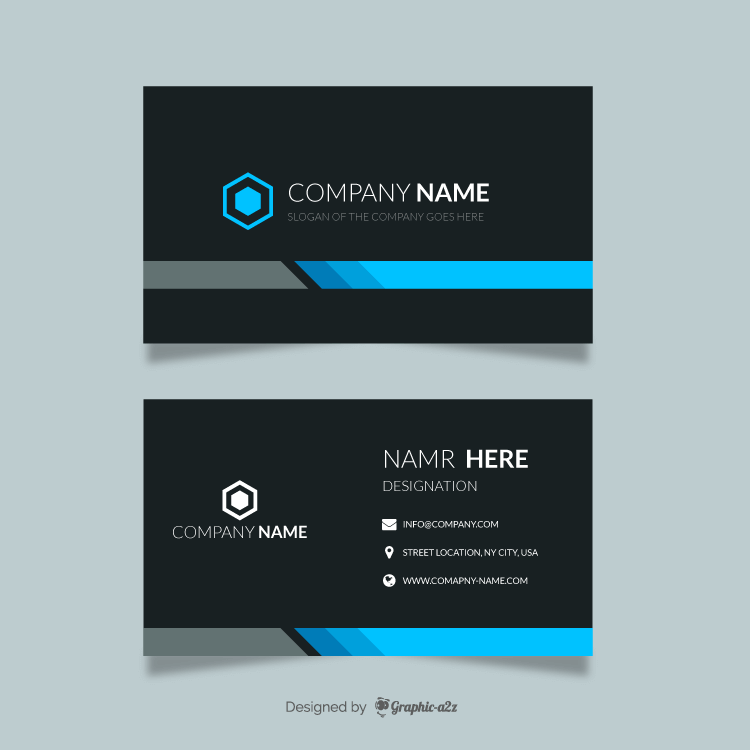 Blue black visiting card vector design on Graphica2z