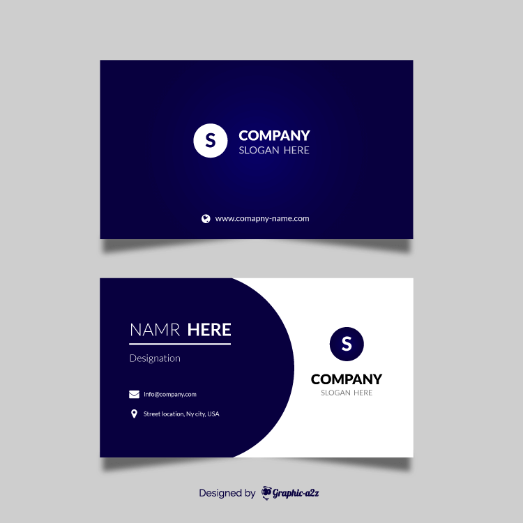 Blue gradient visiting card on Graphica2z