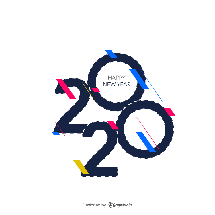 Happy new year 2020 design on Graphic-a2z