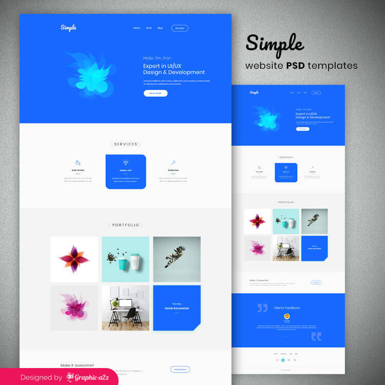 Simple website psd templates on Graphica2z