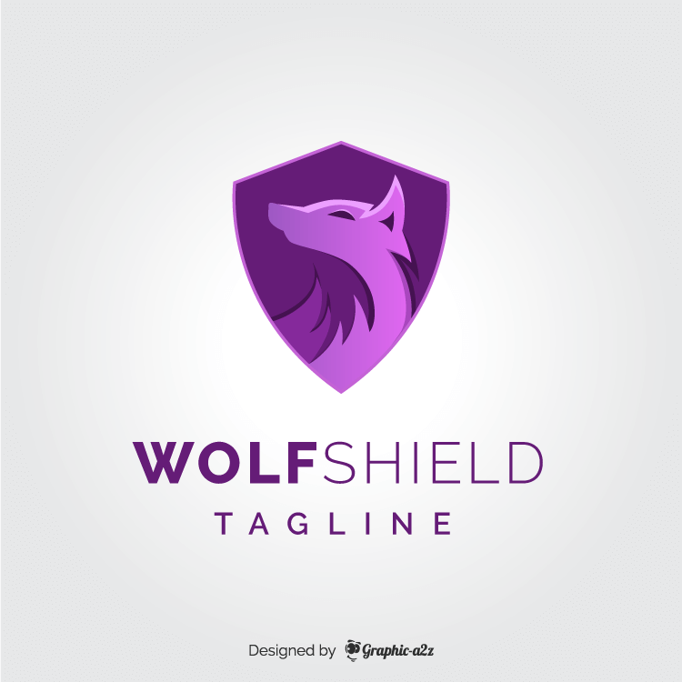 Wolf shield logo vector design on graphica2z