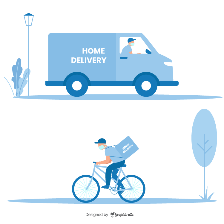 Home delivery service with mask illustration